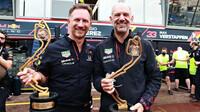 Christian Horner a Adrian Newey se radují z vítězství po závodě v Monaku