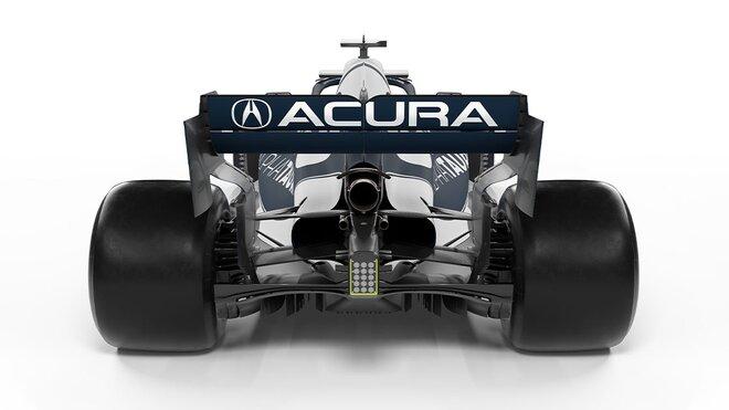 Nové logo Acury na zadním křídle AlphaTauri AT02